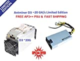 NEW Antminer D3 ~20 GH/s LIMITED EDITION X11 WITH APW3++ PSU (READY TO SHIP)