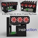 Kyerivs Mining Frame Rig-Gehäuse, Open Air Miner, Bergbau Rahmen, Rig Case, bis zu 6 GPU für BTC, LTC, ETH, Ethereum, ETC, ZCash, Monero