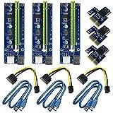 6 Pin PCI-e 1X zu 16X Enhanced Powered Riser Adapter Card & USB 3,0 Verlängerungskabel und 6pin auf SATA Power Cable & GPU Riser Adapter, GPU Graphic Card Express Astraleums Mining ETH (3 Stücke)