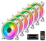 EZDIY-FAB Weiß Moonlight RGB Gehäuselüfter 120mm mit 10-Port Lüfter Hub X und Fernbedienung,5V 3Pin RGB Motherboard Sync,ARGB Lüfter für PC Gehäuse -6 Pack